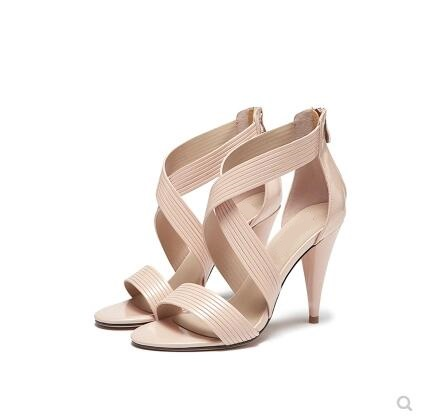 Women Solid Pink Black Crossed Strap Hollow Out Summer Sandals Fashion Back Zipper Spike Heel Dress Shoes High Quality