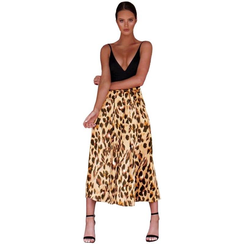 Women Fashion High Waist Leopard Print Ninth   Pants     Wide     Leg     Pants   Slit Culottes Ladies Casual Loose   Pants   Trousers With Belt