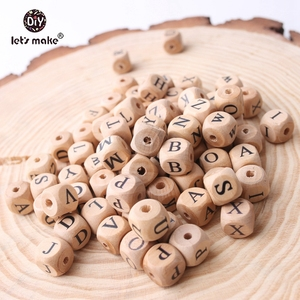 Image 5 - Lets Make Wholesale 500PCS 12mm Square Shape Beech Wood 26 Letter Beads Teething DIY Jewelry Necklace Beads Baby Teethers