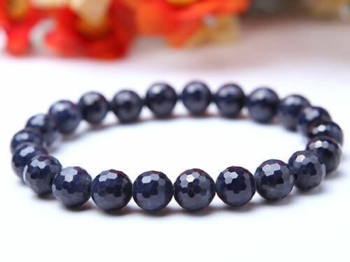 Natural Blue Sapphire Gemstone Women Man Bracelets Crystal Stretch Cut Faceted Round Beads Bracelet 8mm Powerful Rare Stone AAAA