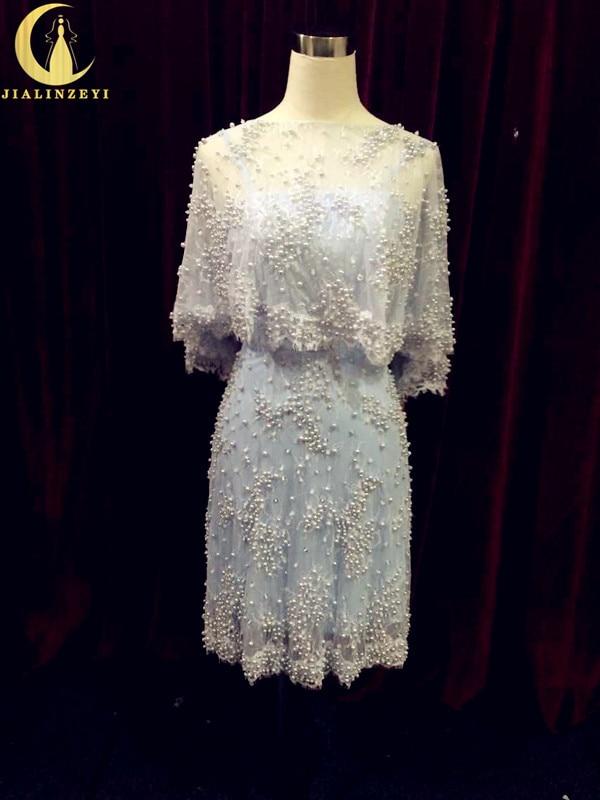 Рейн реална проба две комплект небесно синьо луксозни перли секси коляното дължина официално мода страна рокли майка абитуриентски рокля