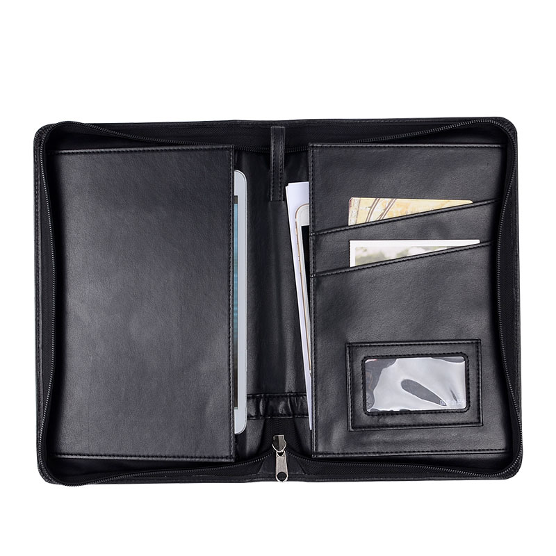 ФОТО PU Leather Padfolio Black Color Business Document Holders B5 Portfolio Office Supply School Accessories Accept Wholesale