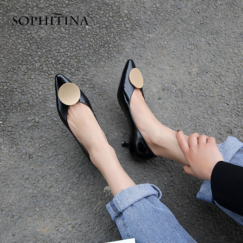 SOPHITINA 2019 New Concise Women Pumps Spring Spike Heel Patent Leather Pointed Toe Slip on Lady