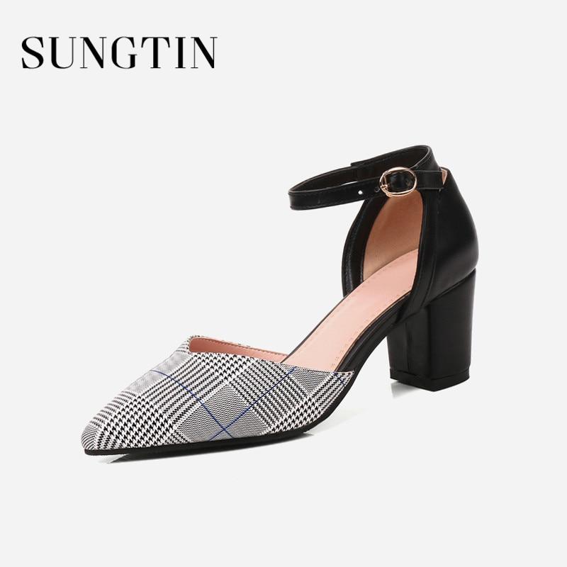 Sungtin Women High Heel Summer Sandals Woman Fashion Pointed Toe Plaid  Block Heel Casual Sandals Classic f823907f7c26
