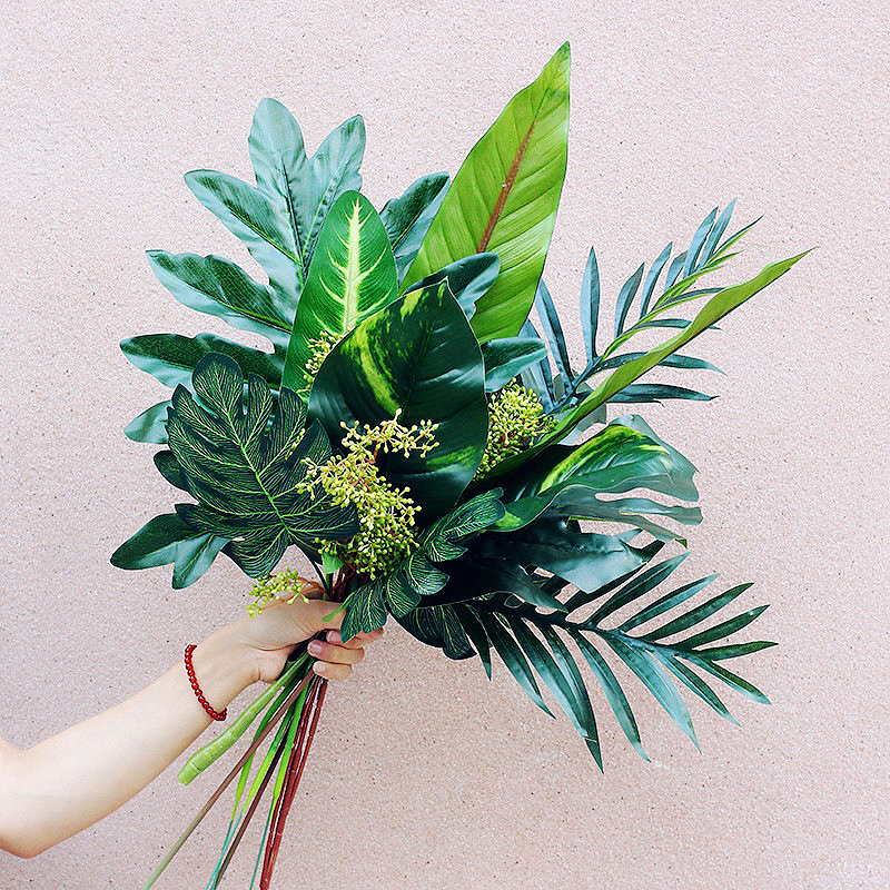 Artificial Tropical Leaf DIY Simulation Plant Wall Green Fern Palm Cracked Home Family Wedding Party Decoration