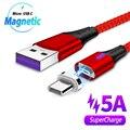 Магнитный Usb-кабель 2 м, светодиодный кабель Micro Usb Type-C для быстрой зарядки Samsung Galaxy S9 S10 A7 J4 J6 Plus, Магнитный зарядный Usb-кабель