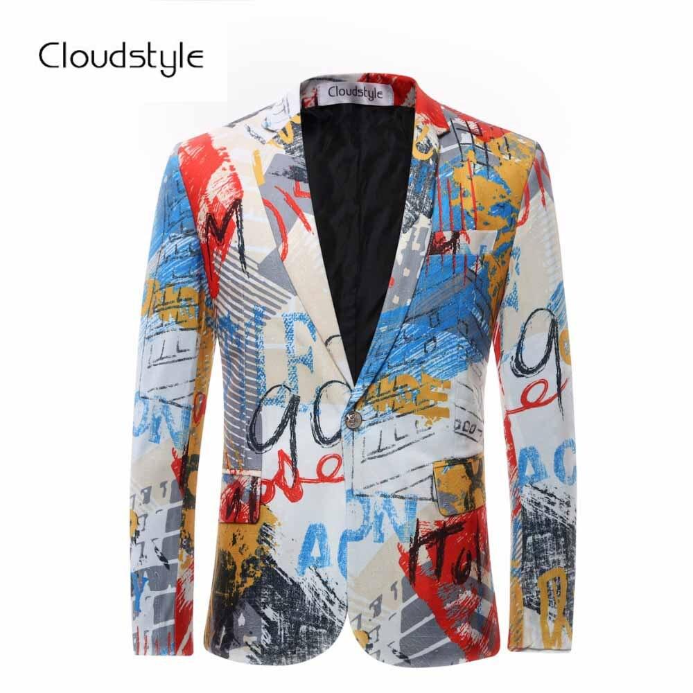 2018 Mâle Floral Veste Costume Peinture Hommes Blazers Mode Unique Bouton costumes Avec Arc Cravate Slim Fit Partie Blazers Plus La Taille 6XL