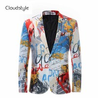 Luxury Color Painting Mens Blazer Fashion Suits For Men Top Quality Blazer Slim Fit Jacket Outwear