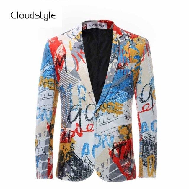 2018 Male Floral Jacket Suit Painting Mens Blazers Fashion Single Button Suits With Bow Tie Slim Fit Party Blazers Plus Size 6XL