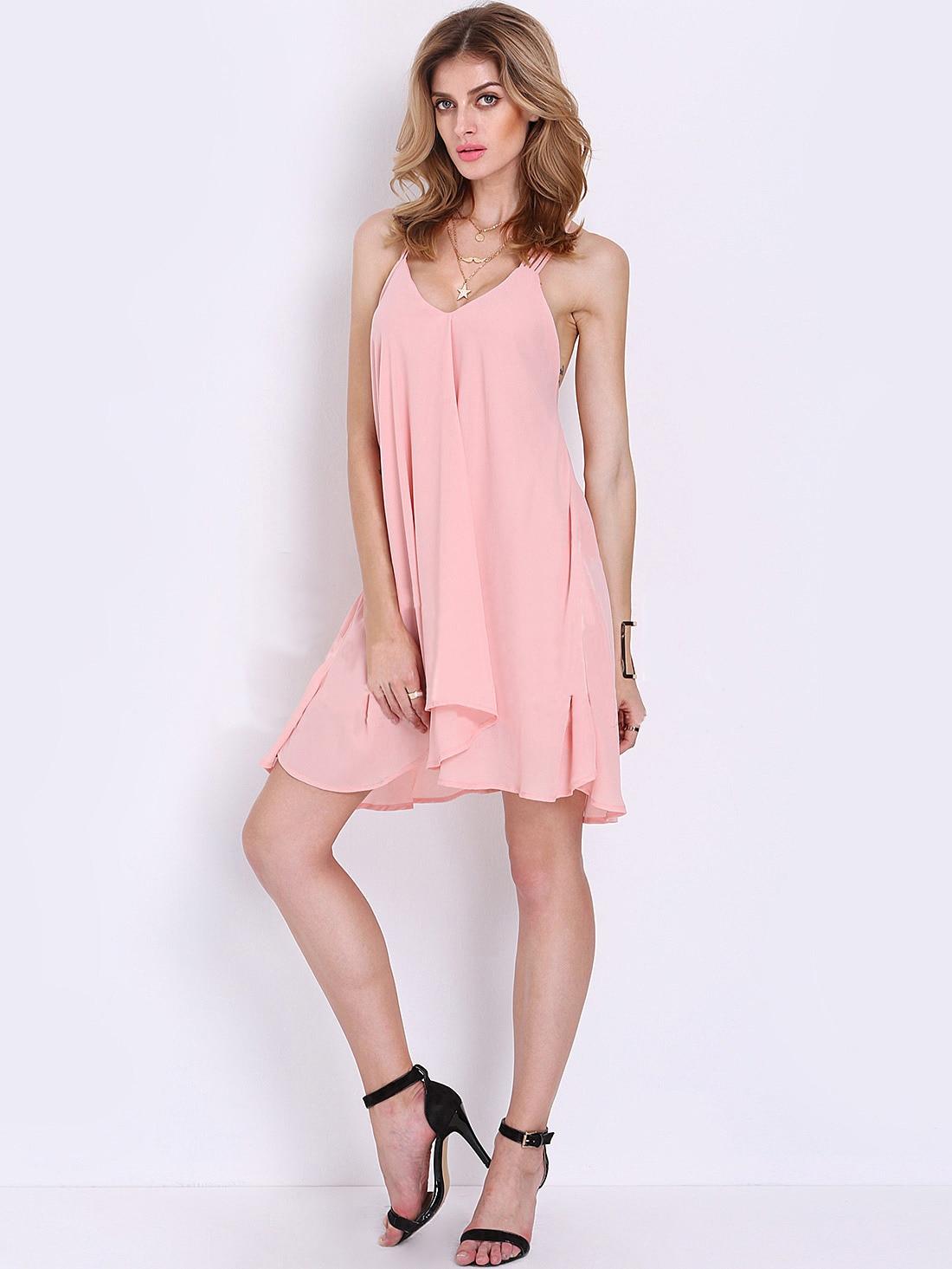 Pink Chiffon Spaghetti Strap Women Sun Dress Open Back -5246