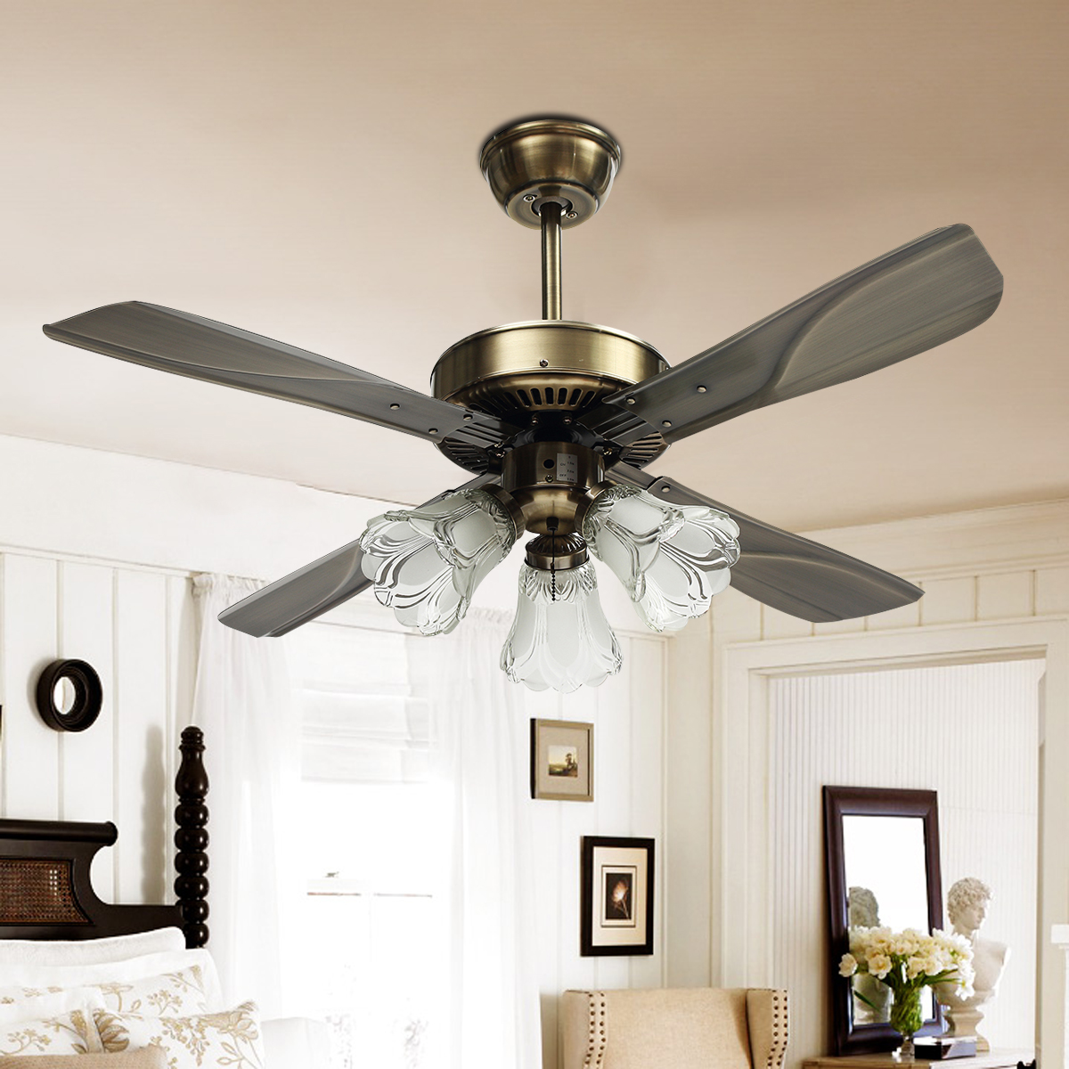 Mising with Remote Control Ceiling Fan with LED 42 inch E27 Retro Style Home Bedroom Living Room Dining Room Fan Light Fan
