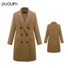 DUOUPA Autumn And Winter Coat Womens Casual Wool Windbreaker Elegant Double-breasted Long Large Size 5XL