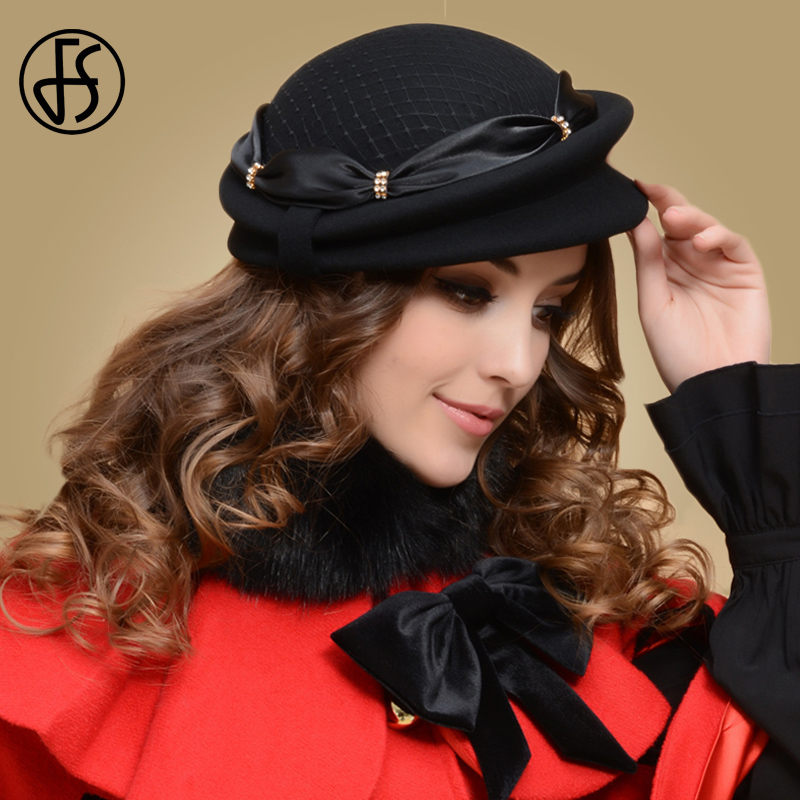 FS Female Winter Black Wool Beret Hat For Women French Felt Hats Cap With Bowknot With