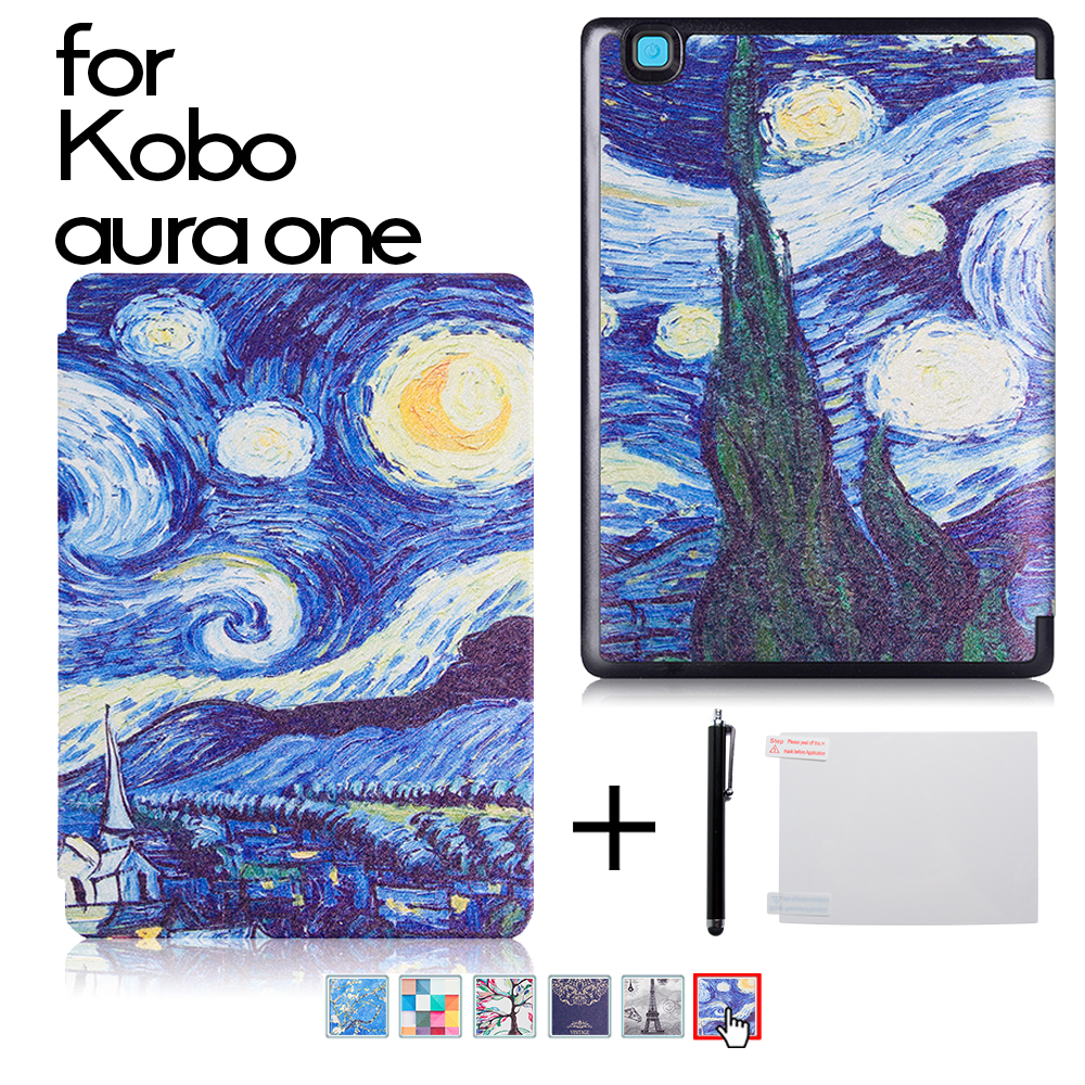Case for 2016 New Kobo Aura One 7.8'' Ereader Silk Grain Protective Skin Case Smart Cover + Screen Protector Film + Stylus one piece 1x brand new high quality silicon protective skin case cover for xbox 360 remote controller blue green mix color