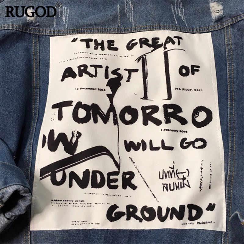 RUGOD Grundlegende Mantel Bombers Vintage Stoff Patchwork Denim Jacke Frauen Cowboy Jeans 2019 Herbst Ausgefranste Ripped Loch Jean Jacke