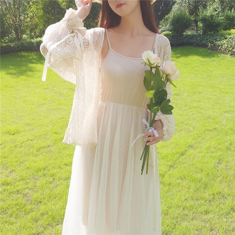 Women Lace Hollow Out Blouse Summer Fashion Cardigan Long Sleeve Women Sunscreen