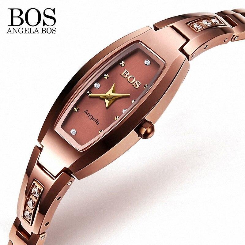 ANGELA BOS montre de luxe en acier tungstène saphir avec strass 30 m antichoc montre étanche femmes montre en or Rose