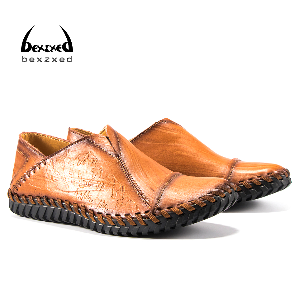 Bexzxed Men Genuine Leather Casual Shoes Moccasins Comfort Man Breathable Loafers Boat Shoes High Quality Lace up Driving shoes men genuine leather lace up flats shoes round toe casual shoes loafers moccasins high quality men shoes