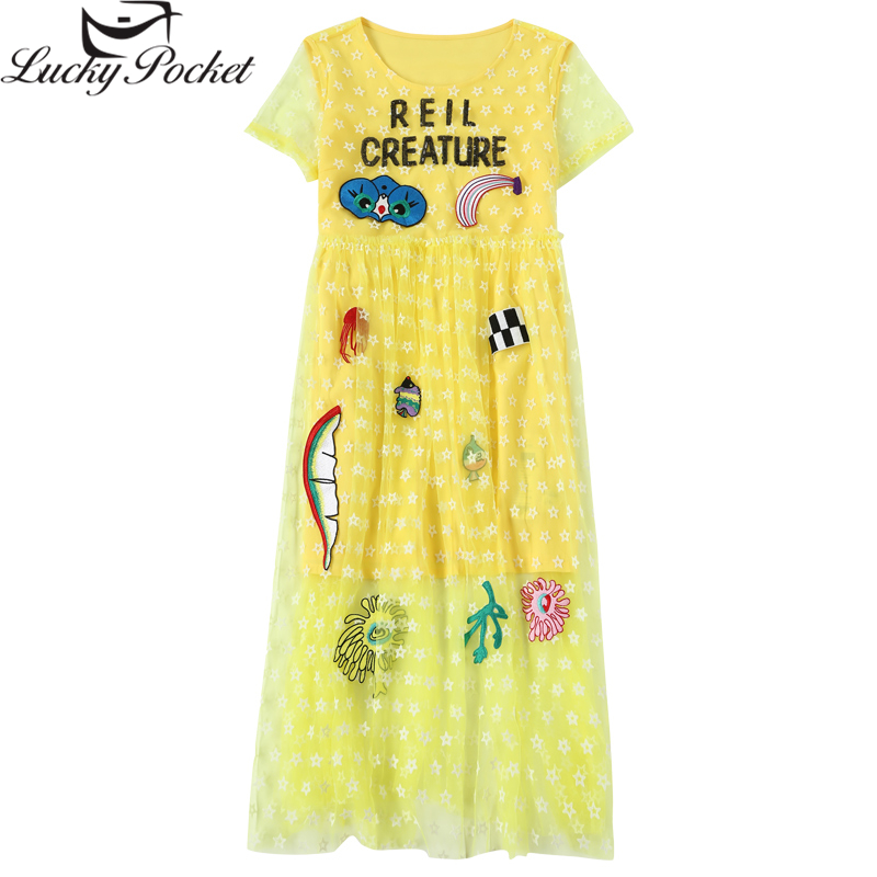 Spring Summer Female New O Neck Dresses Women Fashion Cartoon Letter Patch Desighs Vestido Yellow Loose