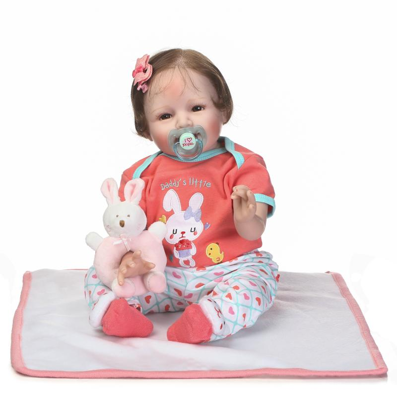 55cm Soft Silicone Reborn Babies Smile Dolls Toy Rooted Hair Newborn Princess Girl Baby Doll Brinquedos Lovely Birthday Gift 2016 cotton body reborn babies lifelike princess girls doll toy rooted mohair gift for baby reborn poupon brinquedos new year
