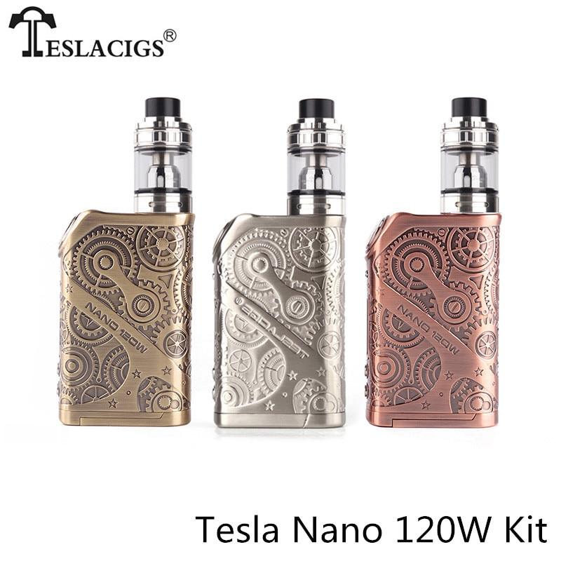 цена на Original Tesla nano 120w kit 120W TC Box Mod with ARROW RDTA Tank 0.05-3.0ohm Zinc alloy construction with bright OLED screen