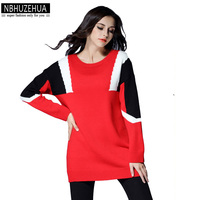 NBHUZEHUA XL-4XL 5XL Oversize Knit Sweater Women Tops 2017 Hit Color Stitching Streetwear Femme Red Pullovers Sweater Plus 422
