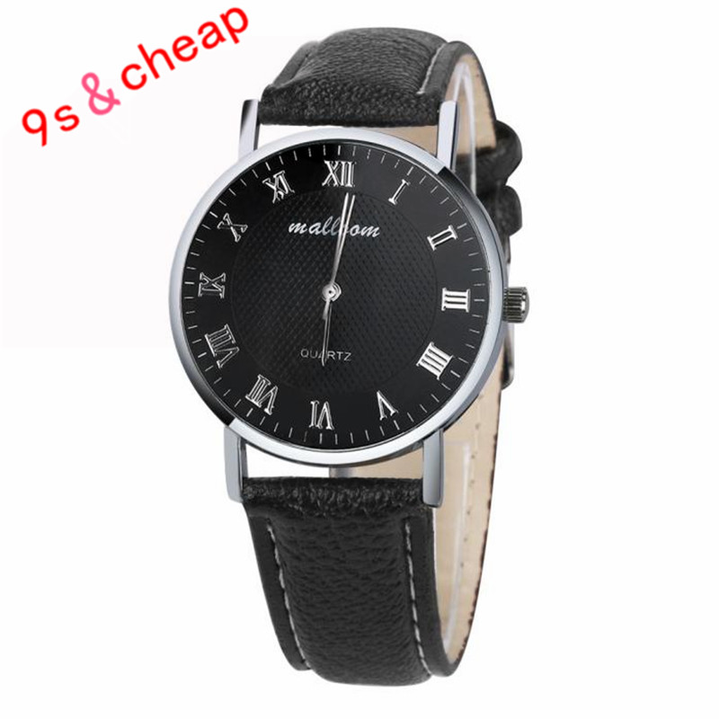 2017 Luxury Brand Men Dress Watch Fashion Business Faux Leather Quartz Watches Mens Male Clock Gift relogio masculino #200717 durable 2016 fashion relogio masculino luxury faux leather mens blue ray glass quartz watches watch men quartz watch