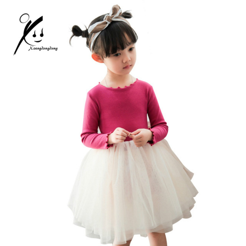 цена на Winter Girls Dresses Kids Princess Dress For Girls 2018 New Cotton Costumes Baby Solid Vestidos Children Long Sleeve Dress
