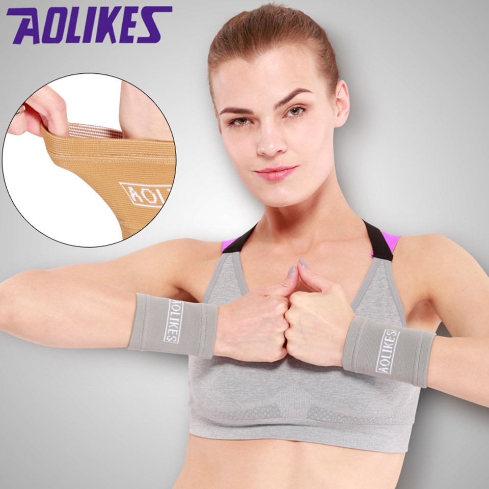 AOLIKES 1 Pair Bamboo Charcoal Wrist Support Sport Wristband Bandage Brace Athlete Gym Volleyball Wrist Wraps Protection