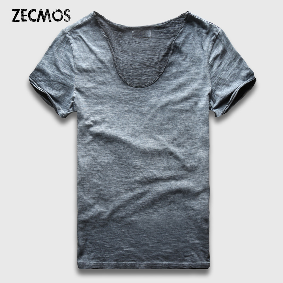 Zecmos Vintage Washed T-Shirt Men New Summer Camisetas Hombre de cuello en V Slim Fit Top Tees Sexy Streetwear Camisetas Hombre Vneck