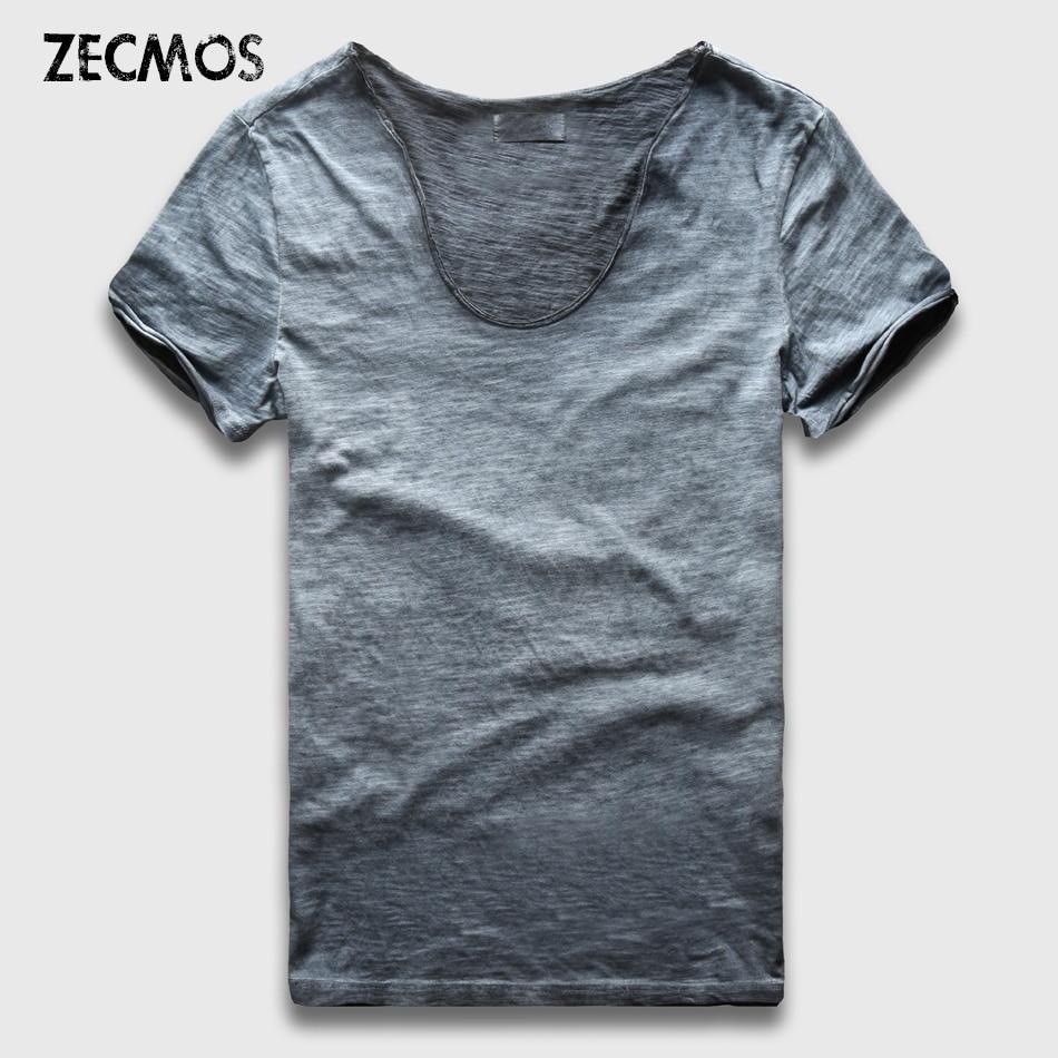 Zecmos Vintage Washed T-Shirt Men New Summer T Shirts Male Wide V Neck Slim Fit Top Tees Sexy Streetwear Tshirts Man Vneck