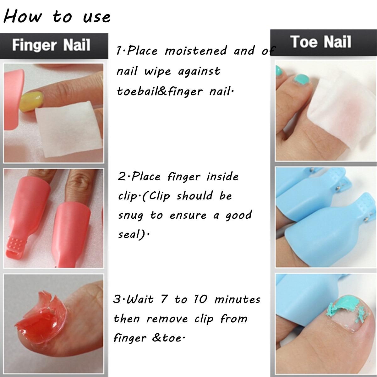 10pcs Plastic Toes Toe Nail Art Soak Off Clip Cap Uv Gel Polish Tips