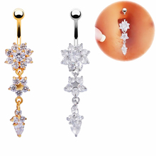 Fashion Fashion Women Golden  Flower Dangle Crystal Navel Belly Rings Sexy Navel Piercing Body Jewelry