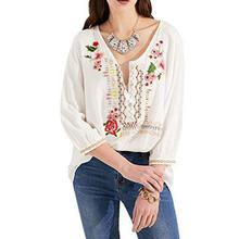 Yfashion Women Fashion All Matching Embroidered Flower Shirt V-neck Loose Long Sleeve Tops