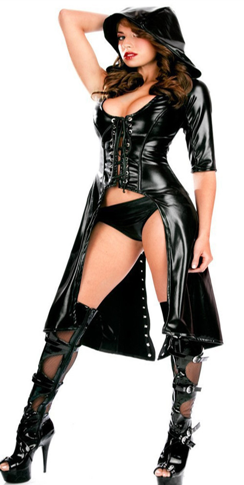 Halloween party performance Jazz dance costumes catwomen Latex Catsuit Hooded Sexy Erotic Faux Leather Latex Bodysuit