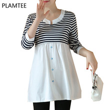 Spring Patchwork Long Sleeve Nursing T-Shirts For Pregnant Women Fashion Striped Maternity Clothes Casual Breastfeeding Tops