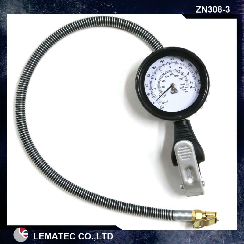 LEMATEC Professional Car air tire inflator 220psi Max Pressure,tire inflation gun with gauge Taiwan Tire inflator with hose air pressure gauge 0 300 psi 0 16 bar with inflating gun fit for auto car motorcycle bicycle type measure meter 6007