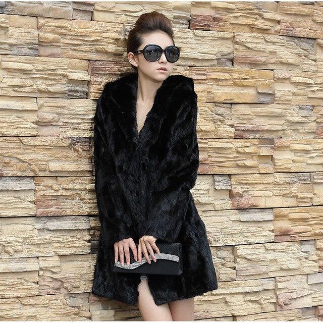 Осень зима женщины черный длинная закрытый воротник искусственного кроличий мех пальто куртка мех шинель верхняя одежда большой размер S-XXXXL