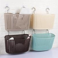 Plastic Storage bath Basket Wall Hanging Organizer Basket Holders Rack with Hooks for Bathroom Bedroom Kitchen Daily Collection