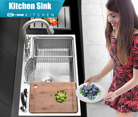 Multifunctional Thicken Brushed SUS304 Stainless Steel Kitchen Sink Set with Drainer Pull Out Faucet Block (Knives Not Included)