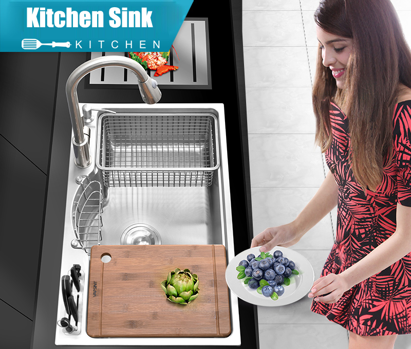 Multifunctional Thicken Brushed SUS304 Stainless Steel Kitchen Sink Set with Drainer Pull Out Faucet Block (Knives Not Included) image