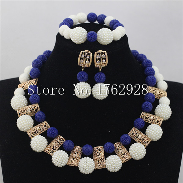 Fashion White Seed Beads Bridal Indian Jewelry Set Royal blue coral Beads necklace Jewlery Set Free Shipping P00089