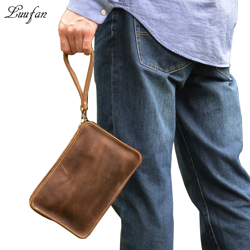 Men's Vintage crazy horse leather small Messenger bag iPad