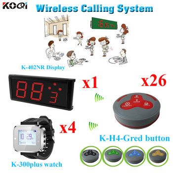 Restaurant Wireless Calling Service System With LED Display Monitor Receiver Transmitter Bell Button Watch