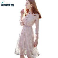 2018 New Fashion Women S Spring Summer Dresses Solid Ladies Lace Dress Women Chiffon Dress High