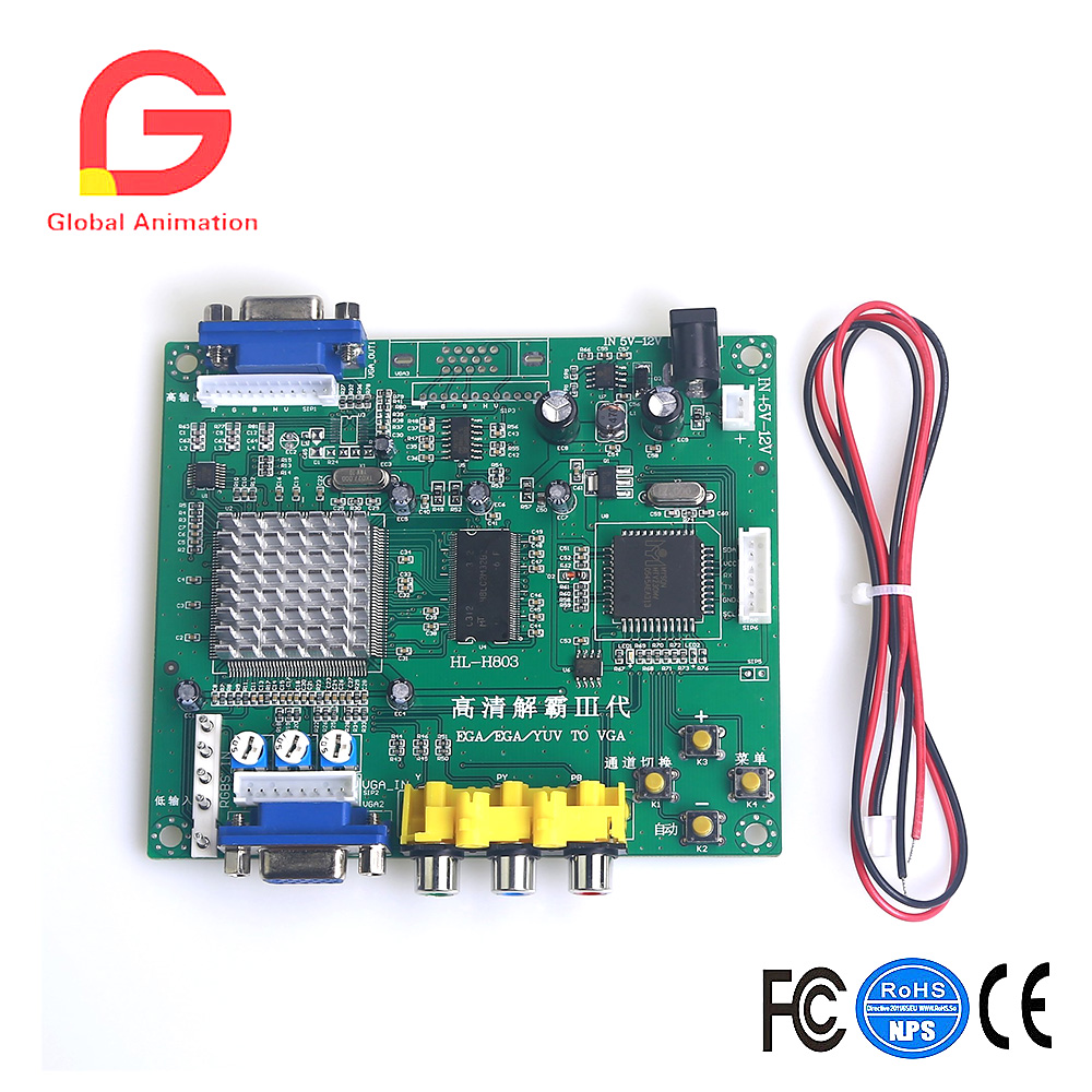 New Arcade Game RGB/CGA/EGA/YUV To VGA HD Video Converter Board 1 VGA Output new xvga box rgb rgbs rgbhv mda cga ega to vga industrial monitor video converter with us plug power adapter