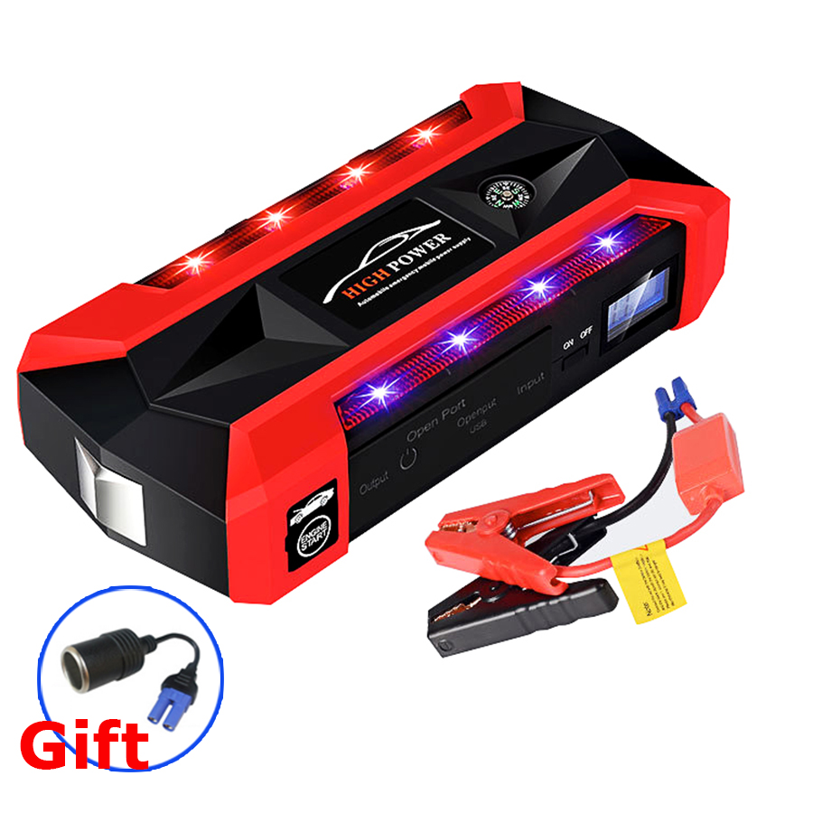 Car Jump Starter 600A Peak 89800mah Portable Auto Battery Power Supply Phone Power Bank Charger For