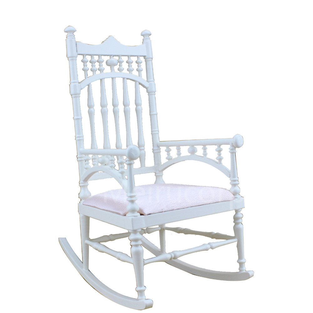 где купить BJD 1:6 DOLL miniature Furniture Classicism Well Hand White rocking chair дешево