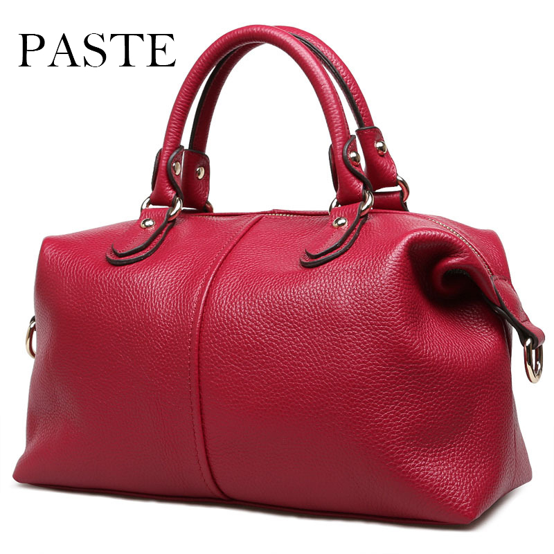 2017 fashion Women leather handbag real Leather shoulder bag High Quality Boston Bag Large capacity Travel Bag high quality authentic famous polo golf double clothing bag men travel golf shoes bag custom handbag large capacity45 26 34 cm