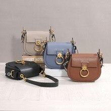 цена на Female Handbag Designer Women Small Saddle Bag Genuine Leather High Quality Lady Vintage Metal Ring Bag In Women's Crossbody Bag